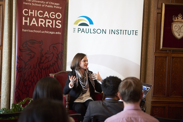 Alison Friedman, delivers the Contemporary China Speakers Series lecture in the Quadrangle Club library Thursday, Jan. 21, 2016, on the University of Chicago campus. The event is co-sponsored by Chicago Harris and the Paulson Institute.   (Photo by Joel Wintermantle)