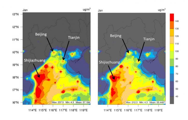 这两张图由清华大学专为本报告绘制。研究人员使用精密的空气模拟软件,假设在空气污染历来最为严重的1月份,工业减排30%减排对空气质量的影响。左图是京津冀地区环境PM2.5浓度的基准情形,右图体现工业减排30%对该地区环境PM2.5浓度有显著影响,如城市地区略浅的橘黄色所示。