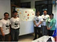 学员分组设计生态旅游活动。教员和与会者点评设计方案。